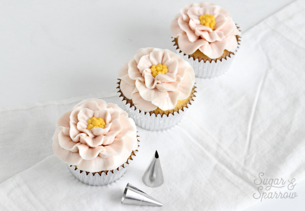 buttercream camellia cupcakes by Sugar and Sparrow