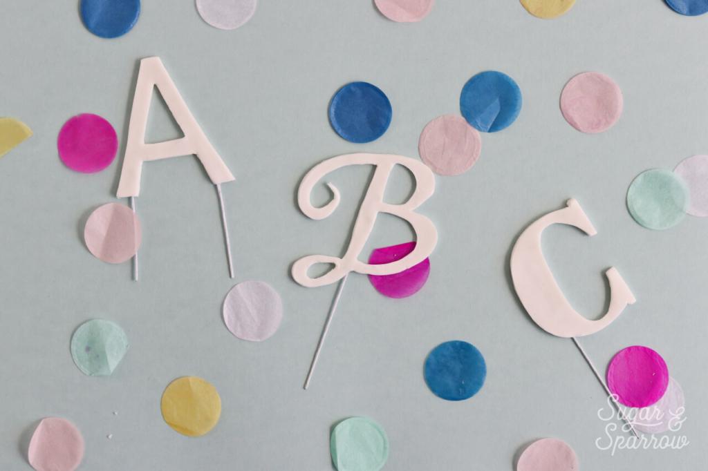 gumpaste letter cupcake topper tutorial