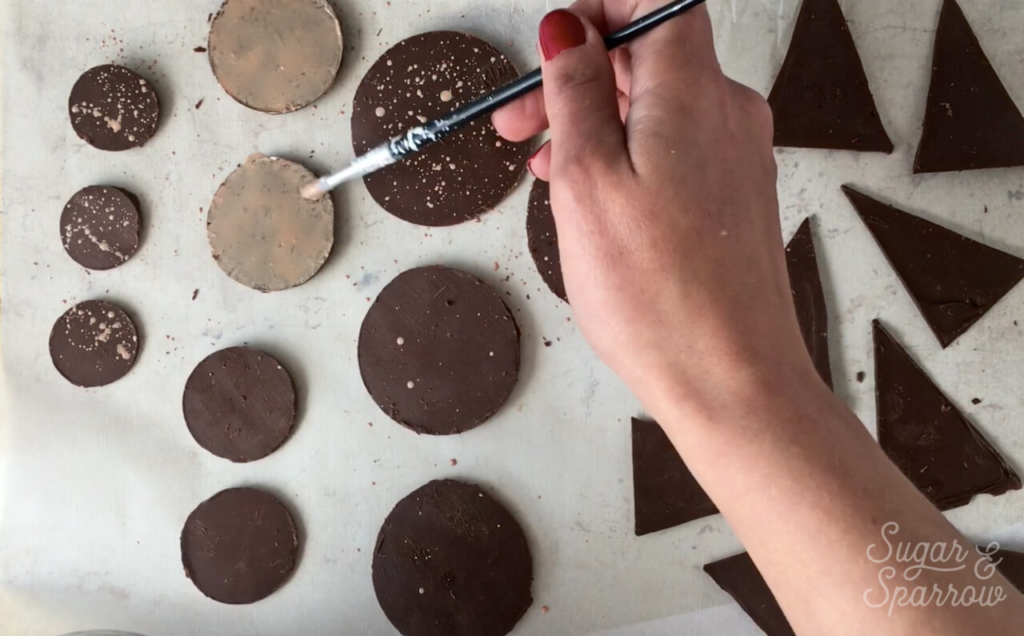 decorating chocolate with metallic Edible Art Paint