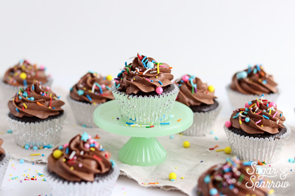 chocolate cupcakes by sugar and sparrow