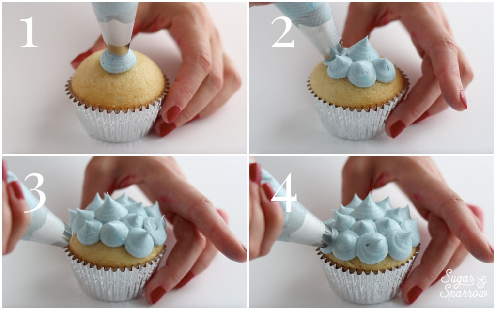 cupcake piping techniques by sugar and sparrow