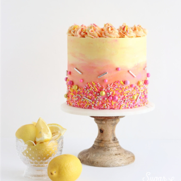 strawberry lemonade cake by sugar and sparrow