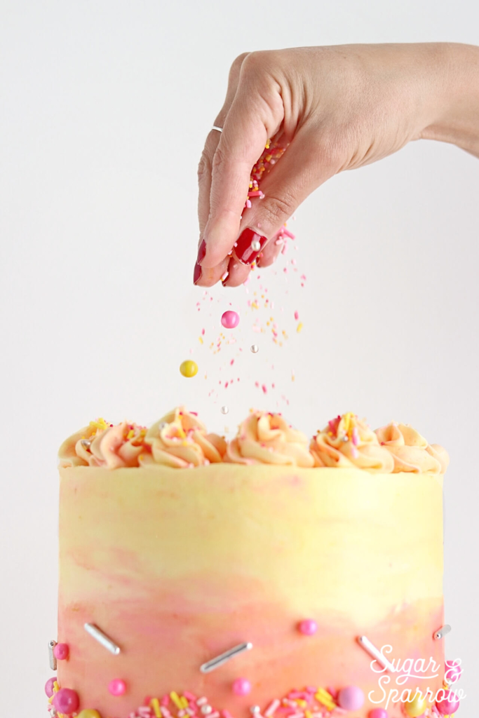 sprinklepop sprinkles on cake by Sugar and Sparrow
