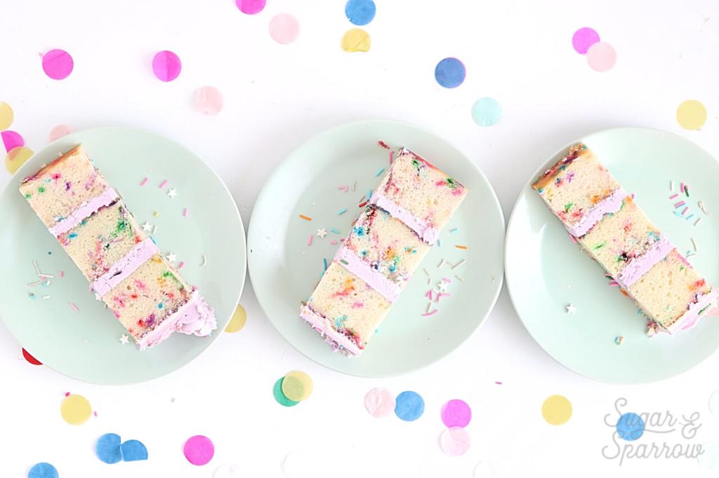 funfetti cake recipe by sugar and sparrow