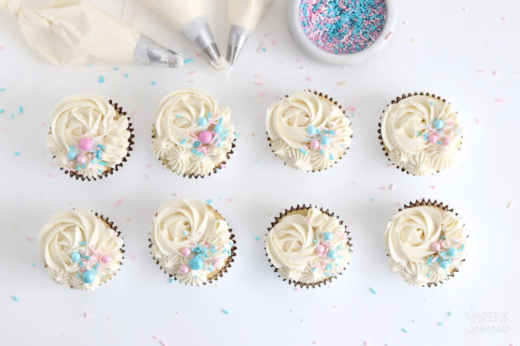 gender reveal cake ideas by sugar and sparrow