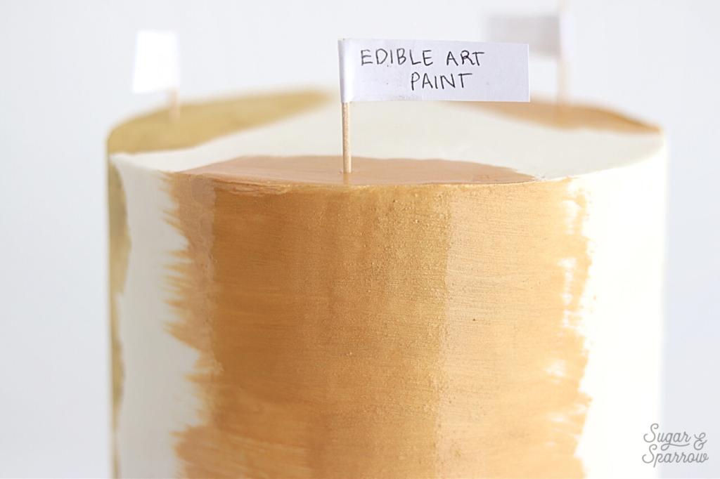 edible art paint glamorous gold buttercream