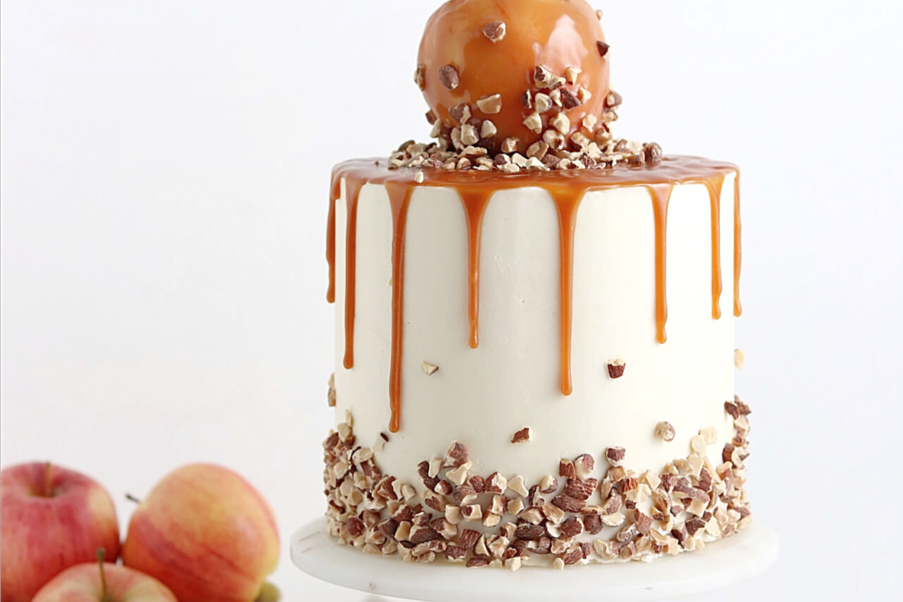 caramel apple cake recipe by sugar and sparrow