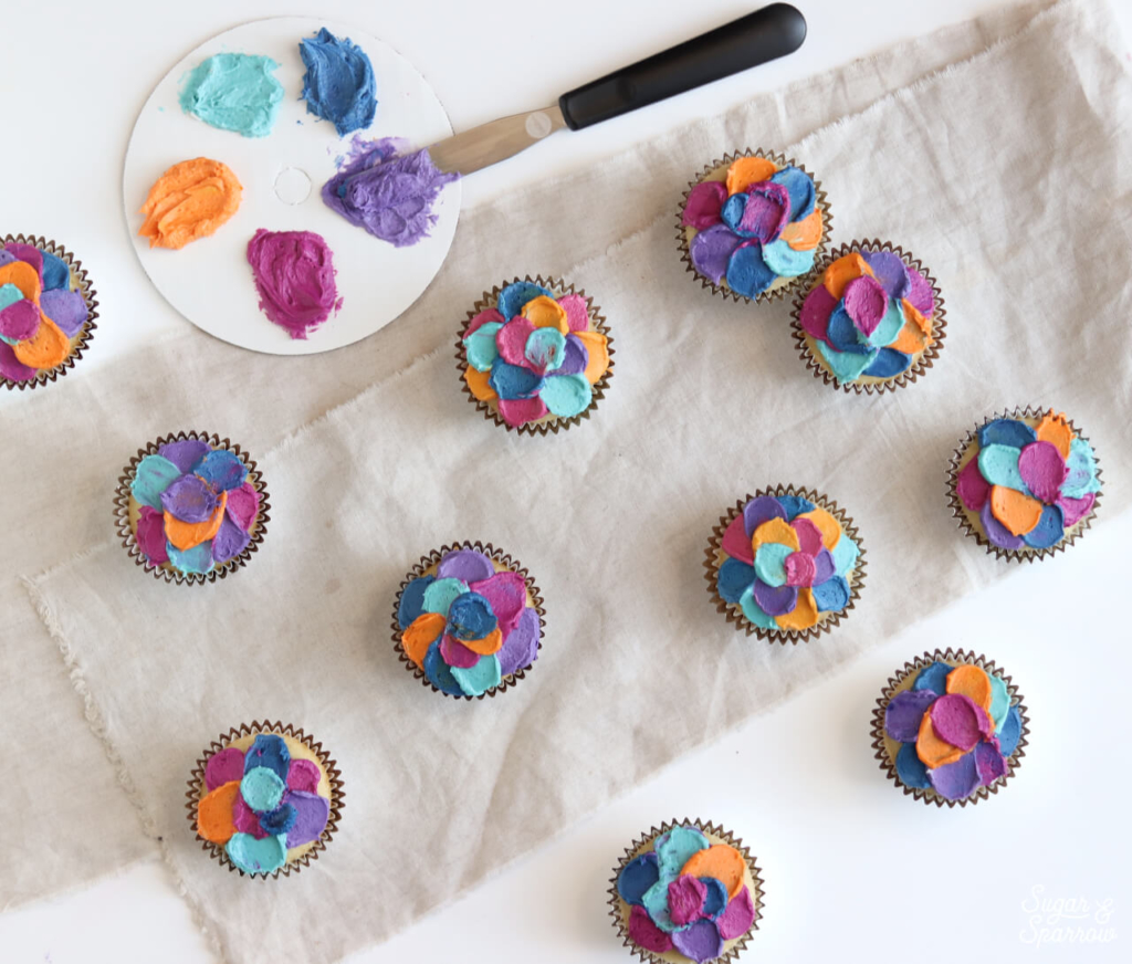colorful cupcakes by sugar and sparrow