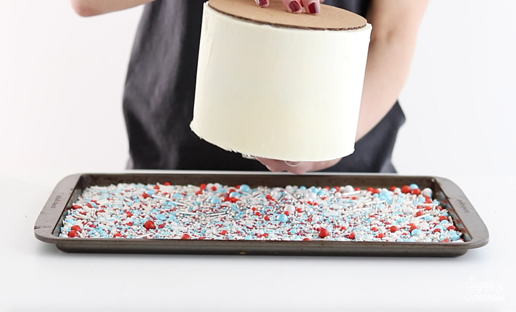 how to roll a cake in sprinkles
