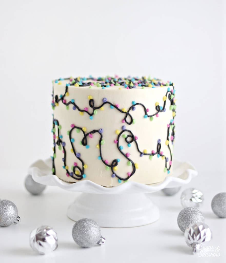 christmas lights cake tutorial by sugar and sparrow