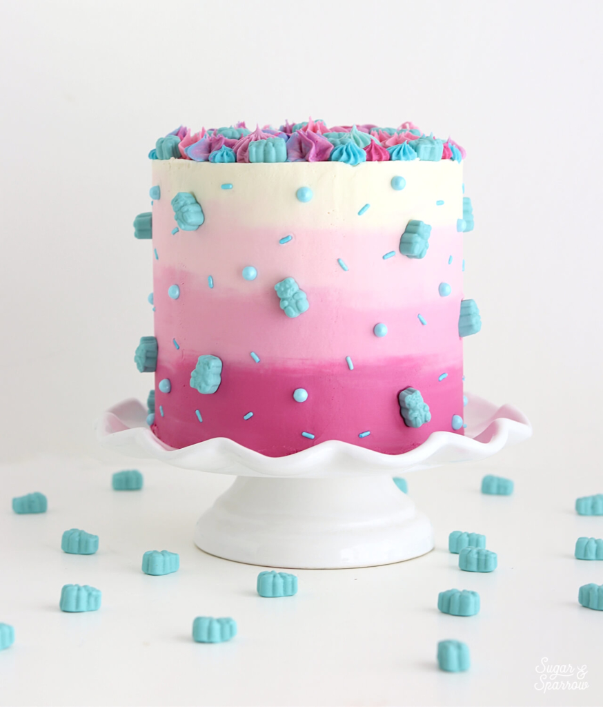 gummy bears on cake by sugar and sparrow