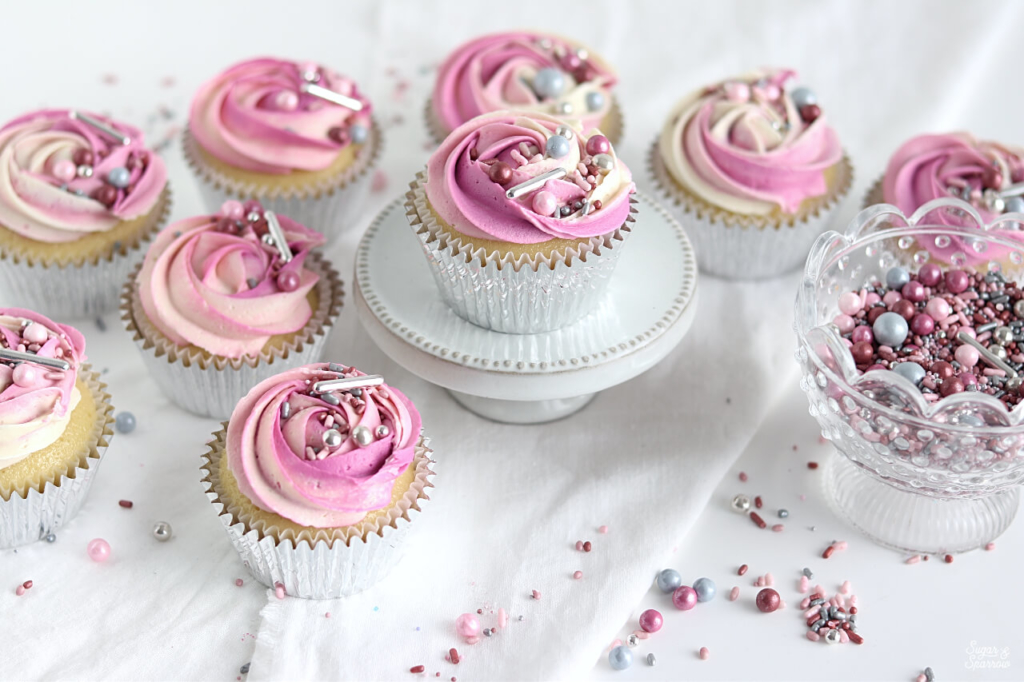 pink ombre rosette cupcakes with sprinkles