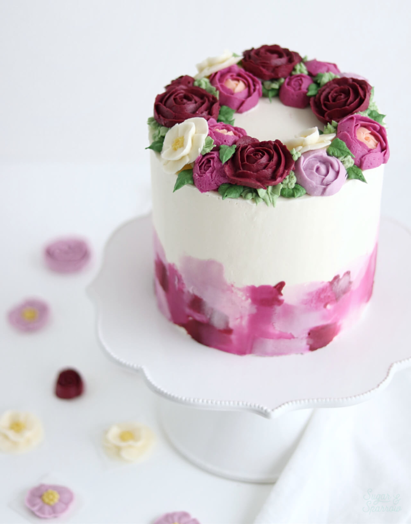 buttercream flower cake by sugar and sparrow