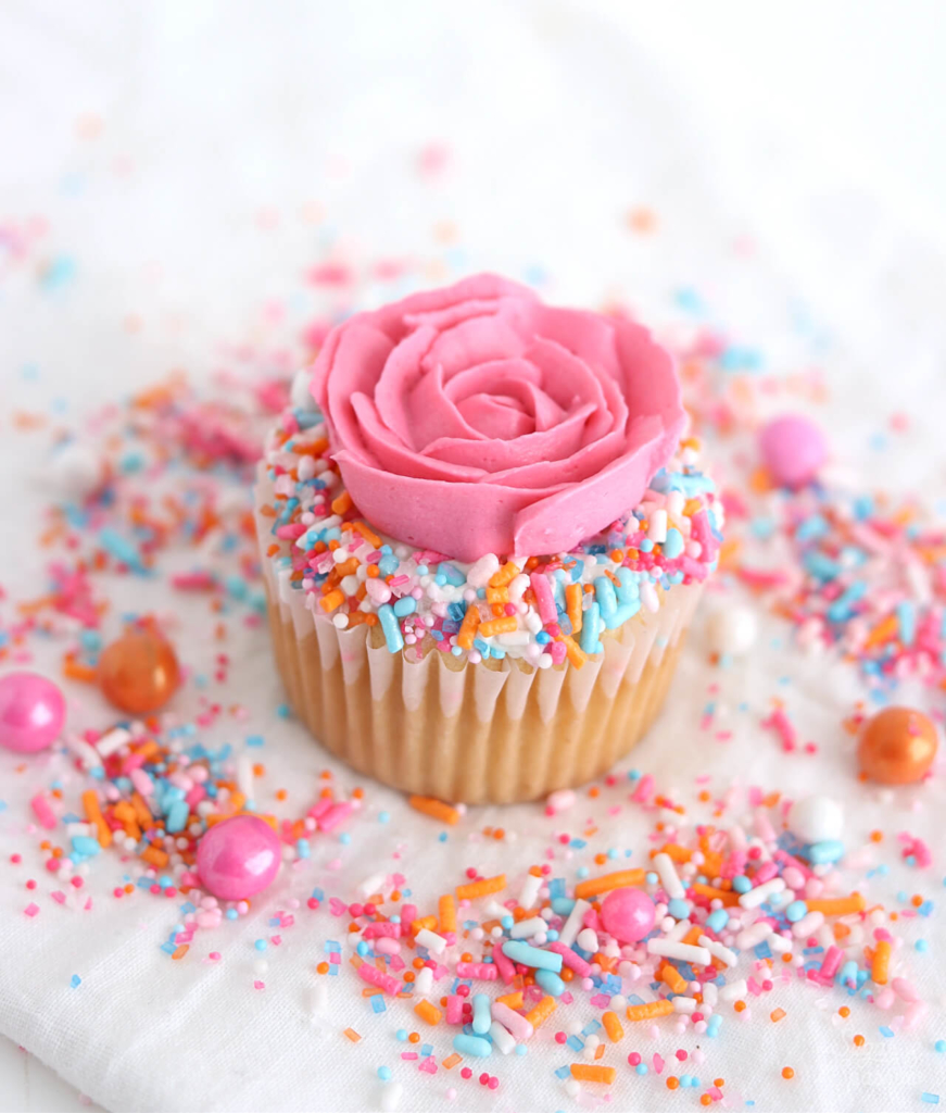 sprinkle rose cupcakes by sugar and sparrow