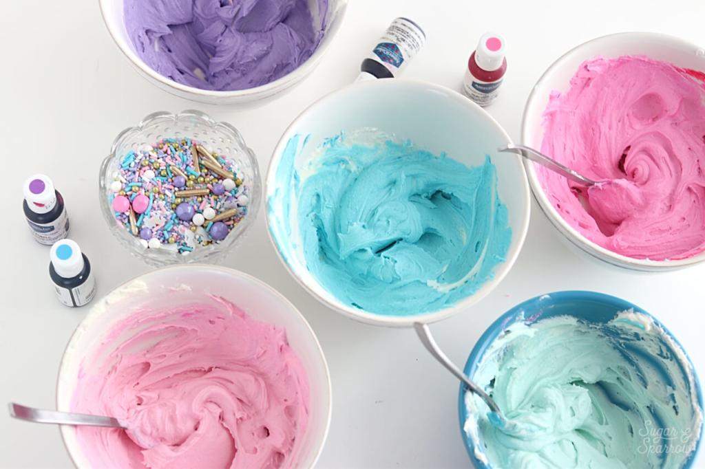 Buttercream color palette for unicorn cake