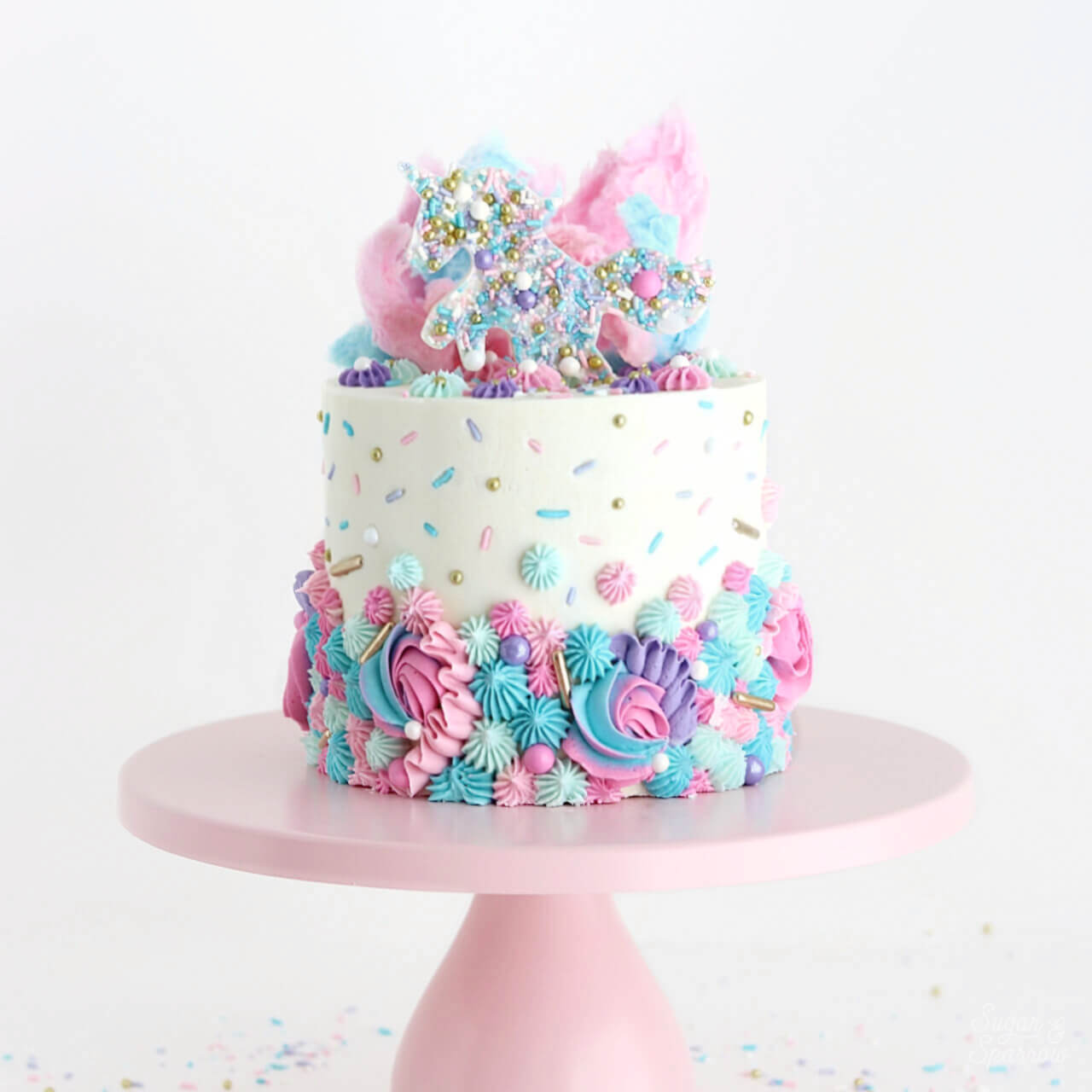 Unicorn Party Cake by Sugar and Sparrow