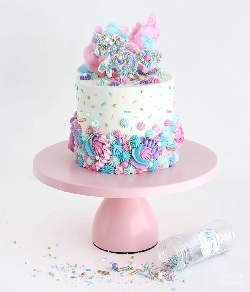 Unicorn cake with sprinkles and cotton candy
