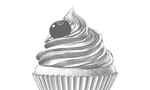 Follow Sugar & Sparrow displays a light grey engraving of a cupcake.