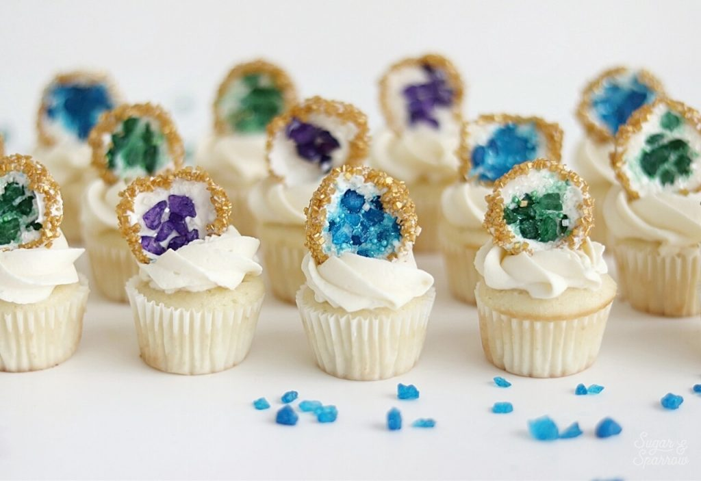 geode cupcakes topper tutorial