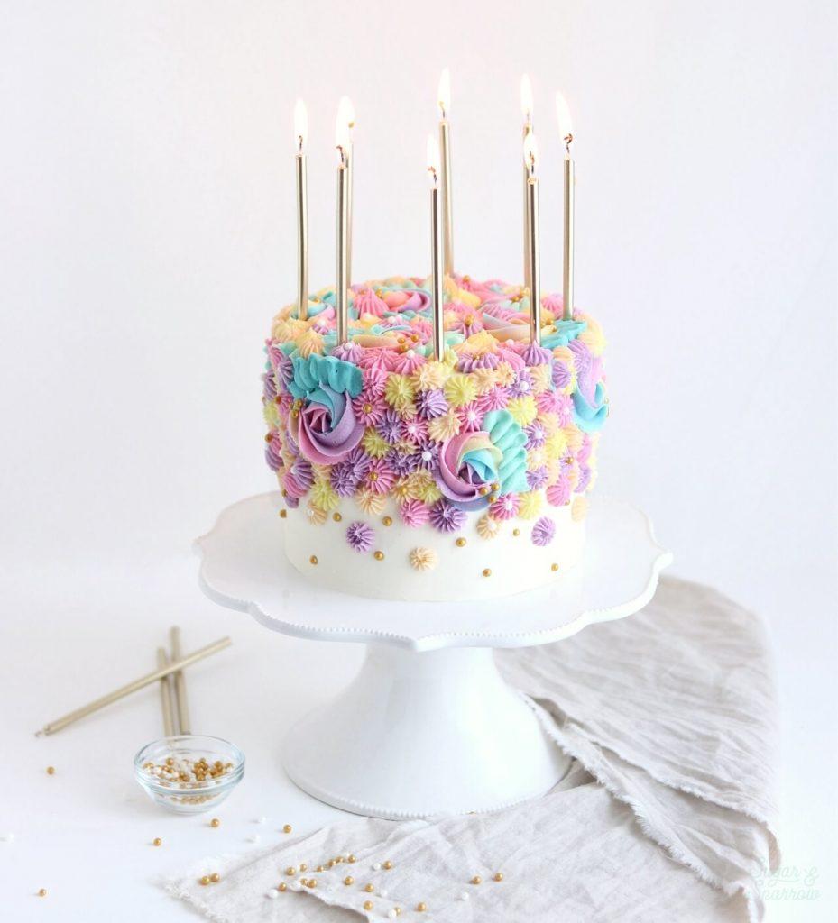 Surprising Pastel Rainbow Birthday Cake Tutorial Sugar Sparrow Funny Birthday Cards Online Inifodamsfinfo