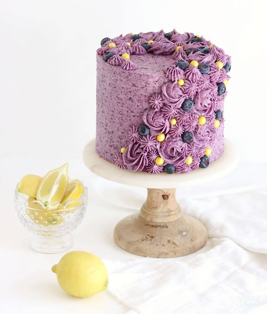 lemon layer cake recipe with blueberry buttercream