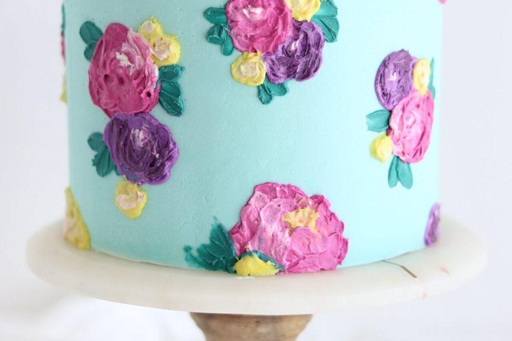 buttercream painted flower cake