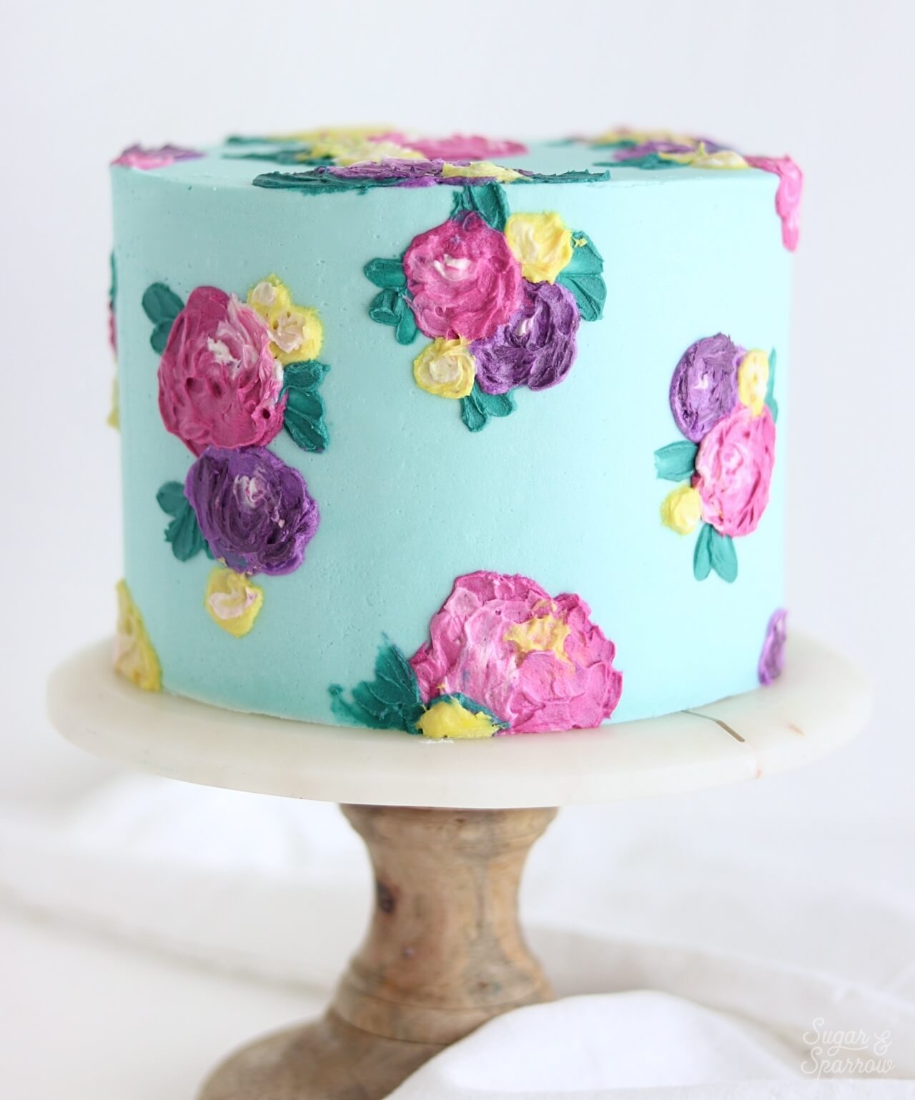 buttercream painted flower cake