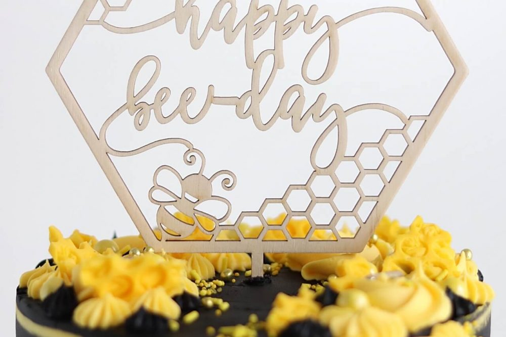 happy bee day cake topper