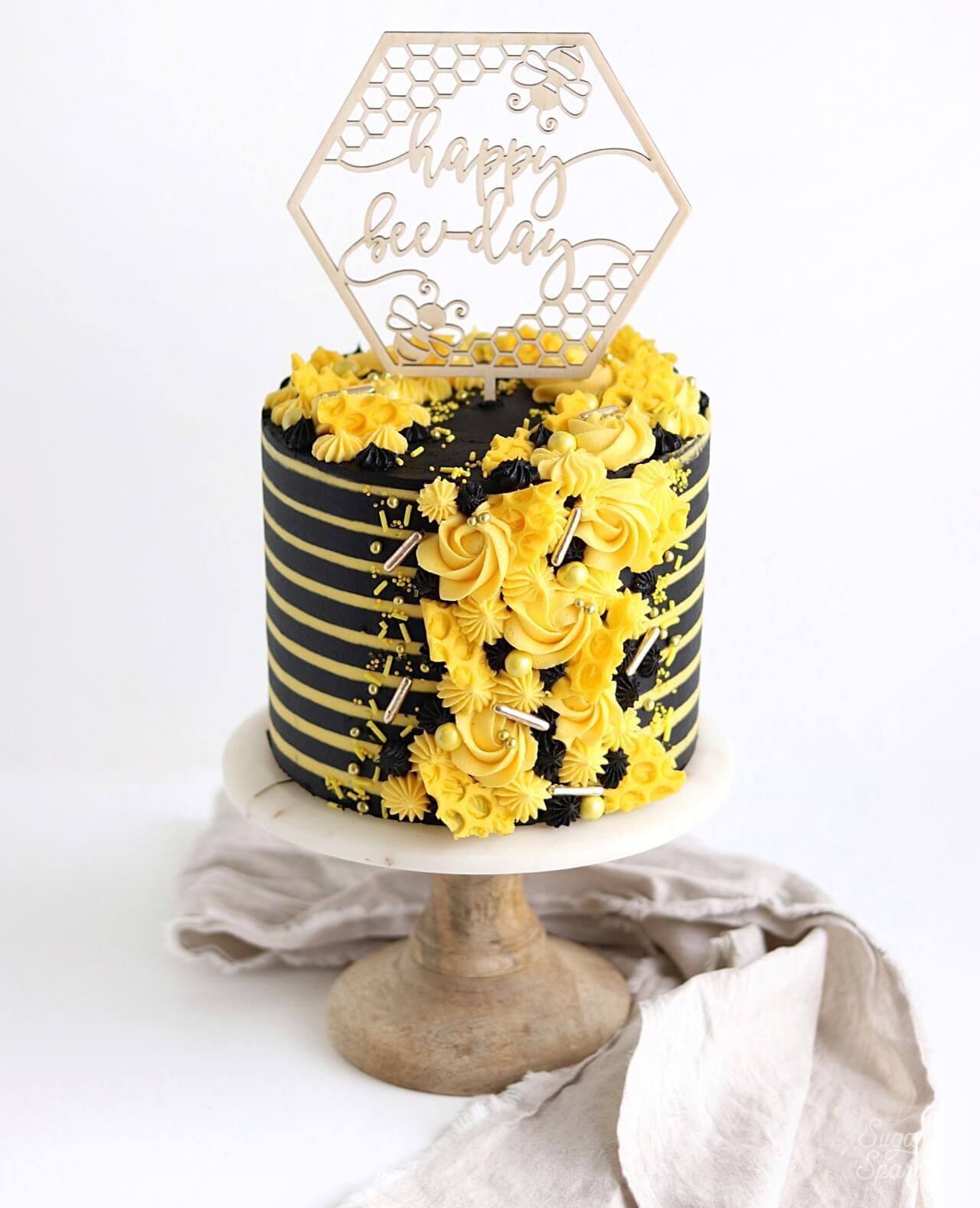 Brilliant Bee Birthday Cake 6 Sugar Sparrow Funny Birthday Cards Online Inifofree Goldxyz