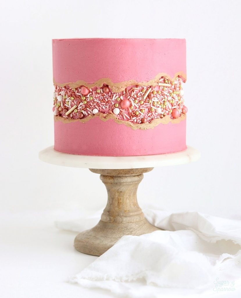 Rose gold cake by Sugar and Sparrow
