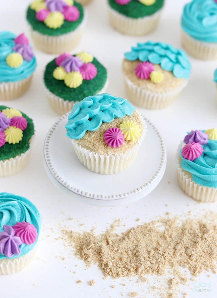 beach cupcake decorating tutorial