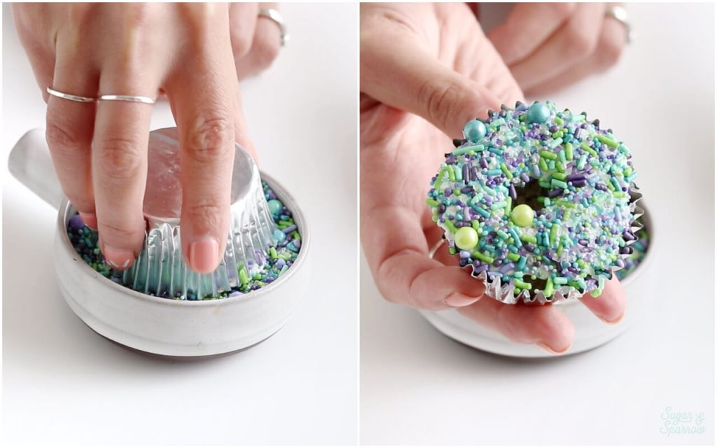 dipping cupcakes in sprinkles
