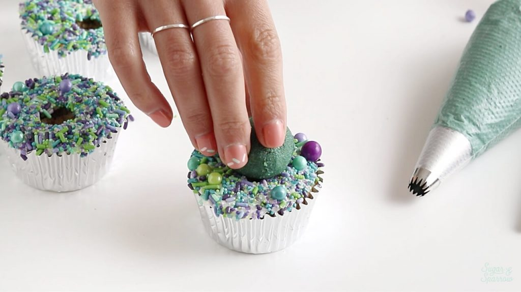 cake pops on cupcakes