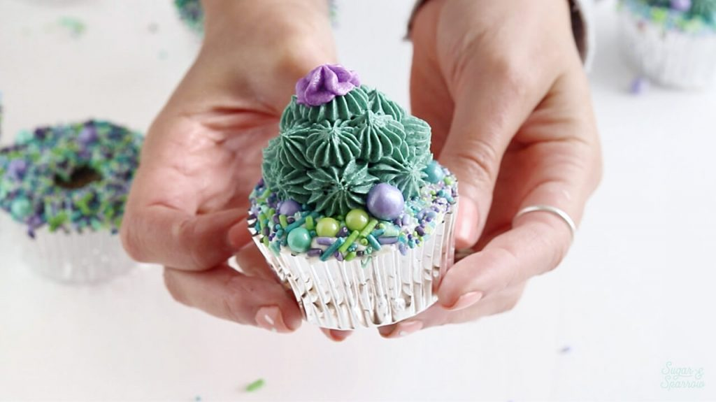 succulent cupcakes with sprinkles