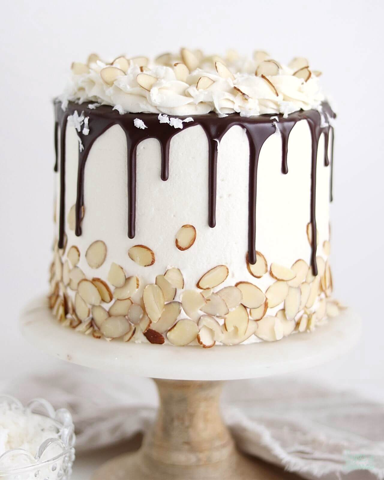 Almond Joy Cake Recipe by Sugar and Sparrow