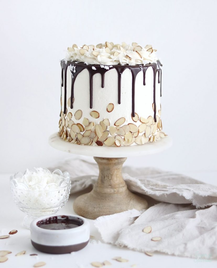 coconut chocolate cake by sugar and sparrow