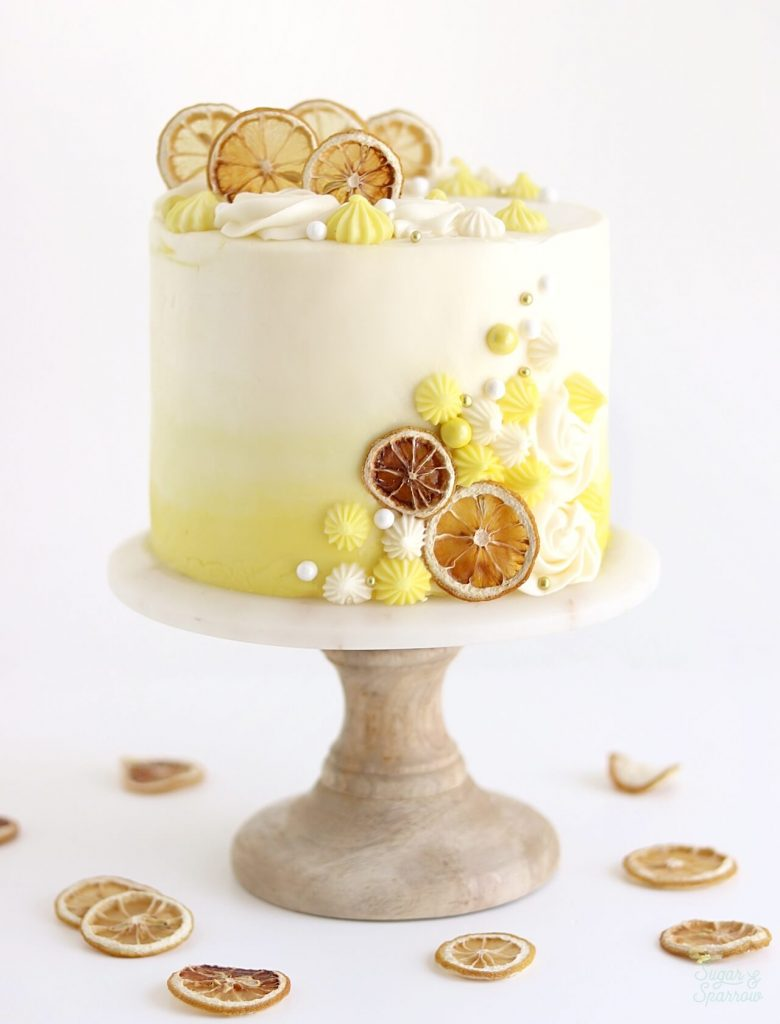 lemon cake recipe decorated with oven dried lemon slices