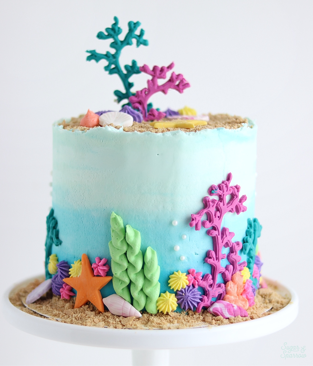 Pleasing Under The Sea Cake Tutorial Sugar Sparrow Funny Birthday Cards Online Inifodamsfinfo