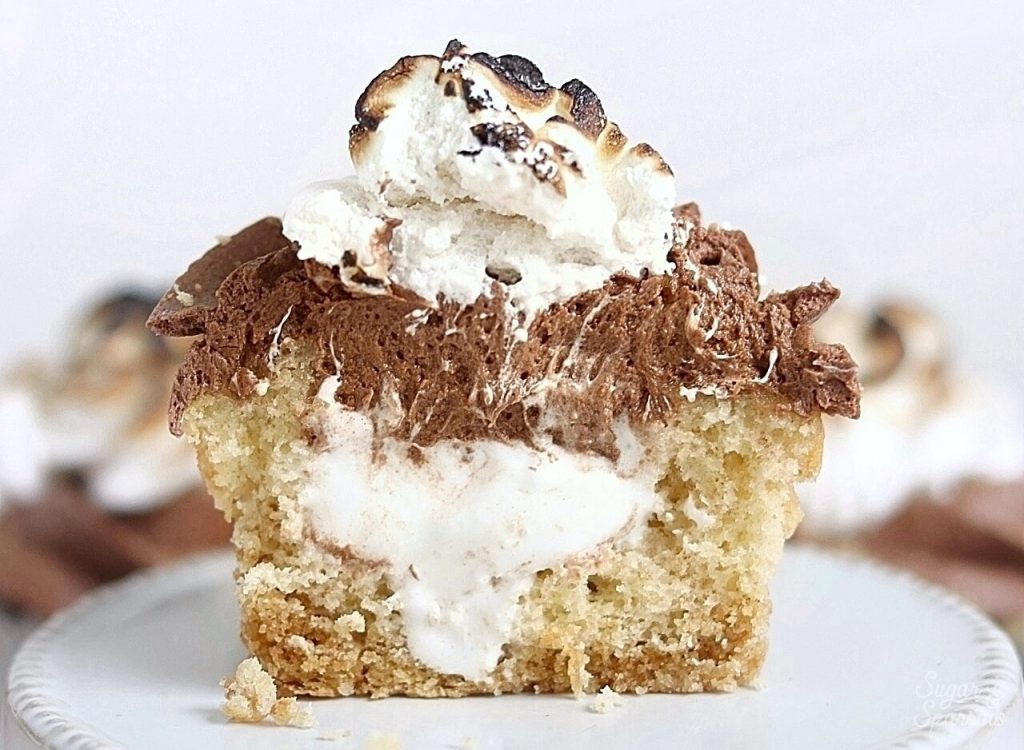 smores cupcakes filled with marshmallow