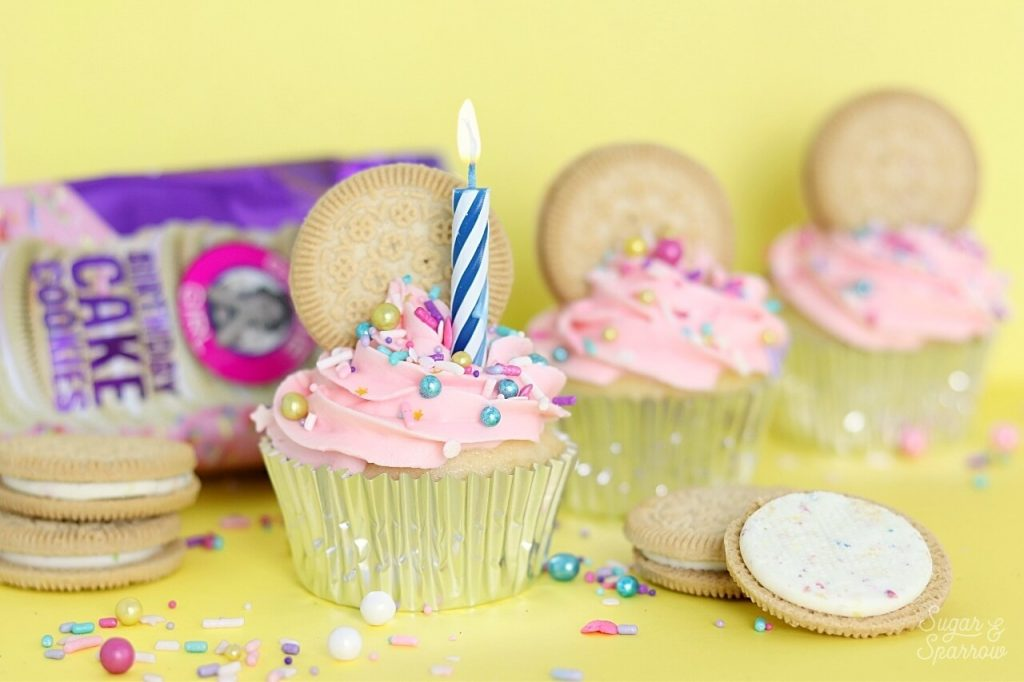 Cupcakes with Birthday Cake cookies