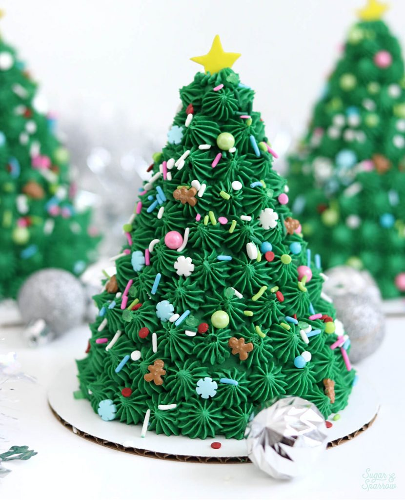 Christmas tree cake by sugar and sparrow