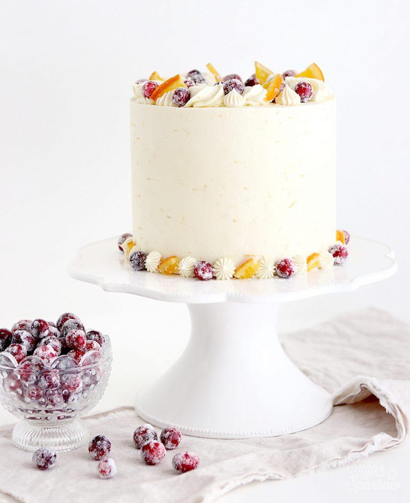 cranberry orange cake recipe with sugared cranberries