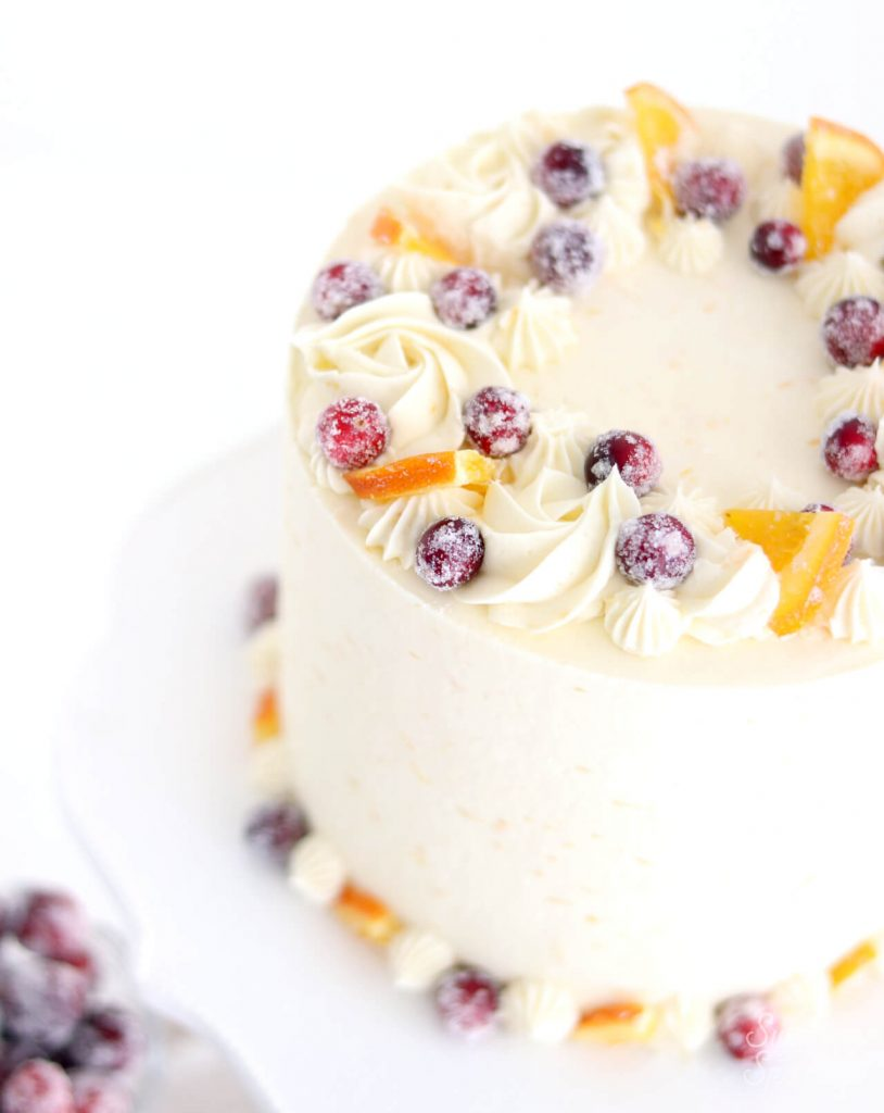 how to decorate cake with sugared cranberries and oranges