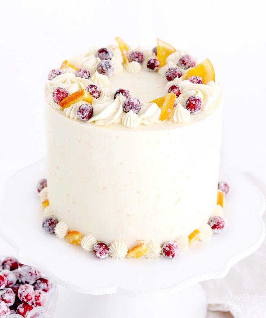 cranberry orange cake recipe by sugar and sparrow