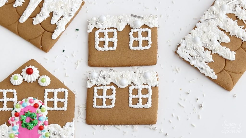 decorated gingerbread house pieces