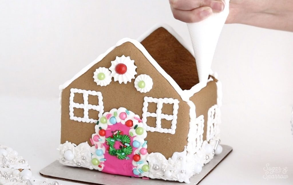 how to attach roof to gingerbread house