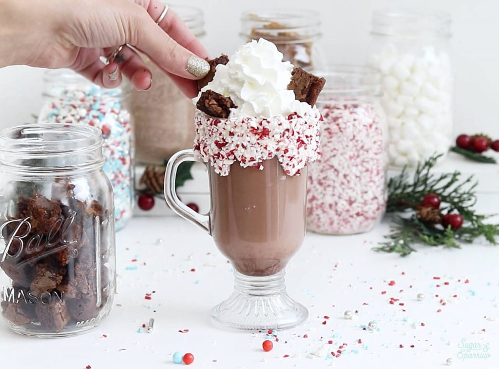brownie topped hot cocoa