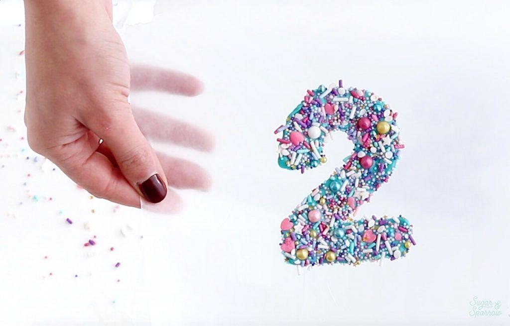 sprinkled number cake topper tutorial