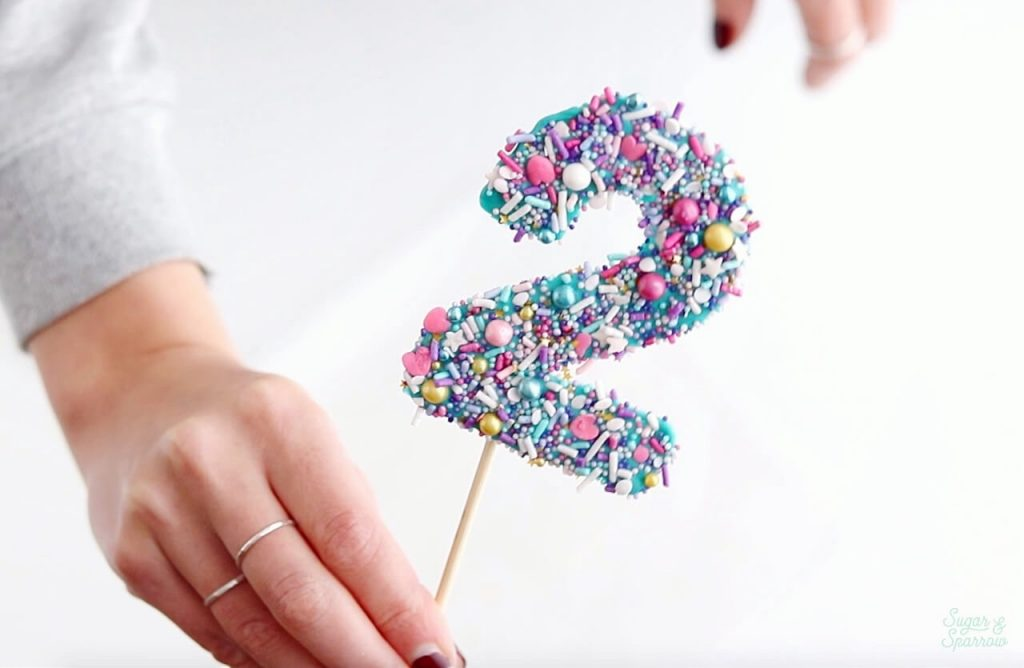 DIY sprinkled number cake toppers by Sugar and Sparrow