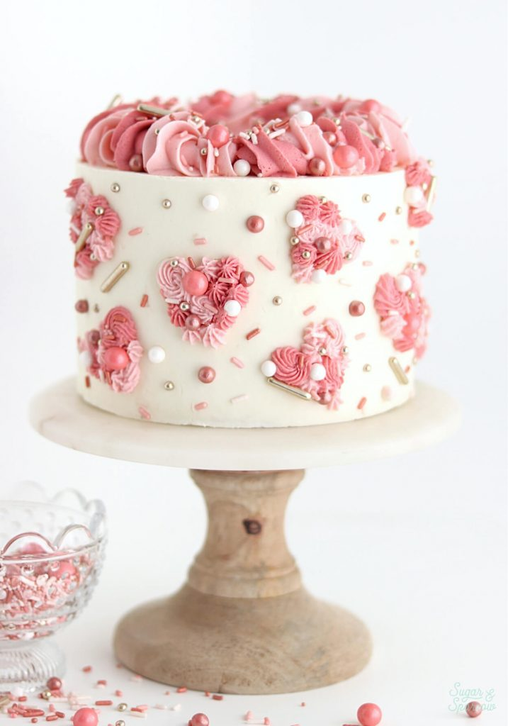 rose gold sprinkles valentines day cake
